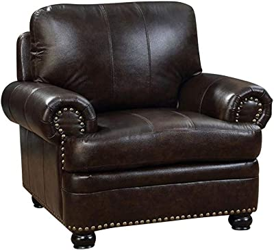 Amazon.com: Benjara Benzara BM185540 Wooden Armrest Leather ...