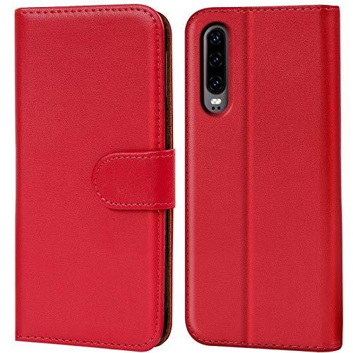 Preisvergleich Produktbild Conie Handyhülle für Huawei P30 Hülle,  Premium PU Leder Flip Case Booklet Cover Weiches Innenfutter für P30 Tasche,  Rot