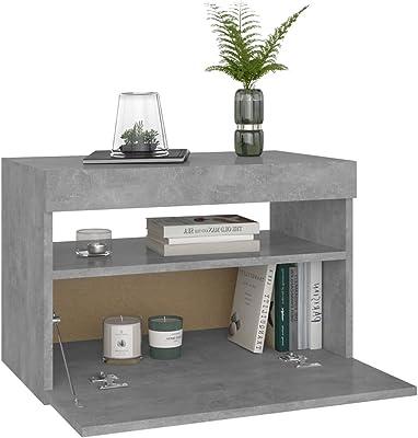 vidaXL TV Cabinet with LED Lights Home Bedroom Living Room HiFi Storage Stand Rack Unit Entertainment Centre Furniture Concrete Grey 60x35x40 cm