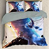 Elxmzwlob Anime Pokem-on Sun and Moon Duvet Cover Set, Easy Care Bedding Cover for Any Bed Room Or Guest Room, Decorative 2 Piece Bedding Set with 1 Pillow Sham, Queen Full Twin Size