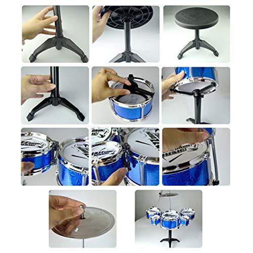 Lorenlli Juguete de instrumentos musicales para niños 5 Baterías Simulación Jazz Kit de batería con baquetas Juguete musical educativo para niños