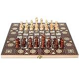 JXAA Tablero De Ajedrez, Ajedrez Plegable De Madera 3 En 1 Hecho A Mano, Backgammon Y Damas,...