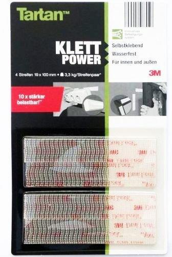 3M Klett-Power - 4 TARTAN-Strips 100 x 19 mm - Selbstklebend . Wasserfest . Für innen und außen - NEU: 10 x stärker belastbar