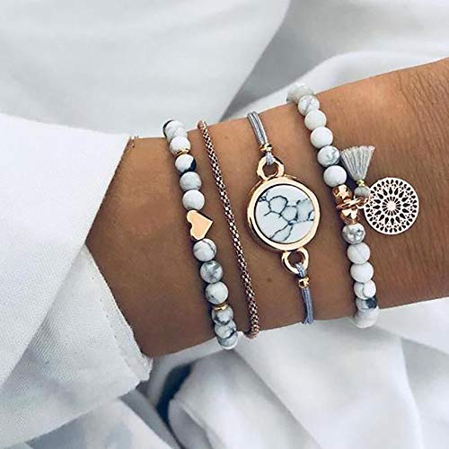 Edary Armband-Set mit Quasten, weißes Marmor-Armband, mit Herz, Perlen-Handkette, verstellbar, für Damen und Mädchen (4 Stück)