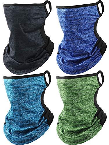 4 Piezas Bufanda de Cara Pasamontaña Cubierta de Cara con Aros de Orejas Braga de Cuello para Mujeres Hombres Deportes al Aire Libre (Azul Hielo, Verde, Azul Oscuro, Gris Oscuro)