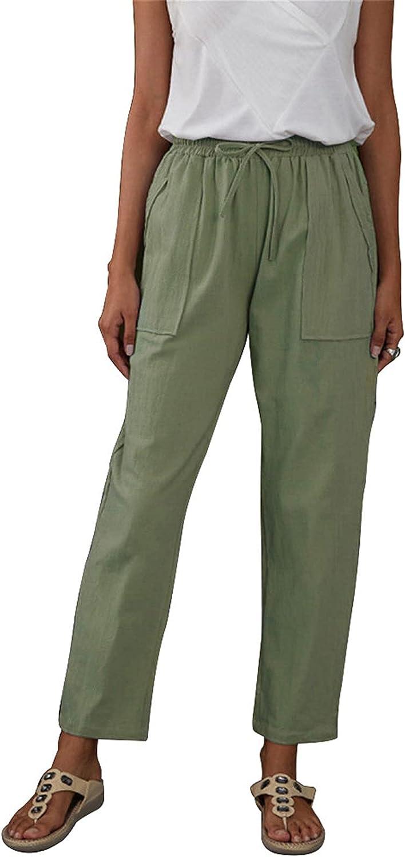 Ysoea Women's Linen Pants Cotton Casual Pants Trousers Drawstring Elastic Waist Comfy Capris with Pockets High Waist Pants