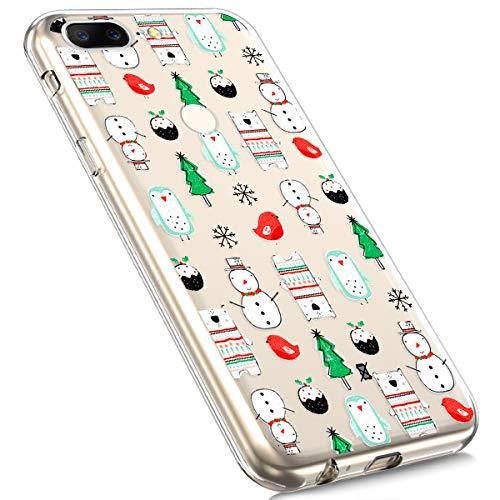 MoreChioce kompatibel mit OnePlus 5T Hülle,kompatibel mit OnePlus 5T Handyhülle, Durchsichtig Silikon Weihnachten Schneeflocke Hirsch Transaparent Bumper,Schneemann Weihnachtsbaum,EINWEG