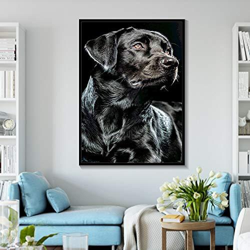 Drucken auf Leinwand-Schwarzweiss Deutscher Schäferhund Tier Leinwand Wandkunst Drucke Wandkunst Bild Wohnkultur für Wohnzimmer PosterFrameless Malerei60x90cm