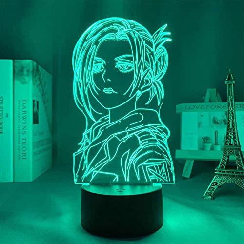 Attack on Titan Annie Leonhart 3D-Illusion-Tischlampe, 16 Farben wechselndes Nachtlicht mit Fernbedienung, Geburtstagsgeschenk für Jungen