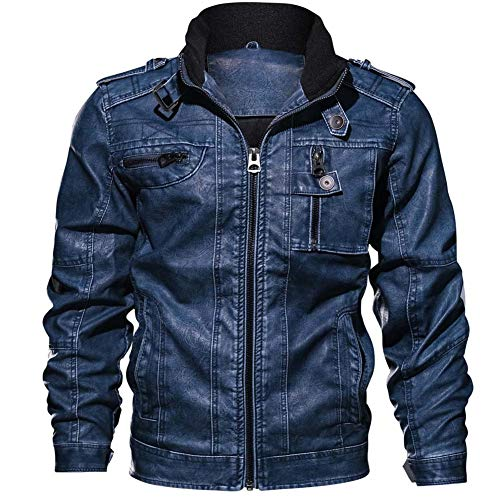 MemoMotoBiker Motorradjacke Leder, Herren Echtleder Bikerjacke, Schulter Design Mode Jacke All-Weather Winddicht,Blue,XXXL