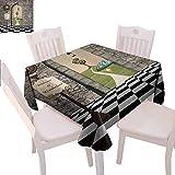 Mantel cuadrado de Alicia en el país de las maravillas impreso Welcome Wonderland negro y blanco piso árbol paisaje seta linterna Enjoy dining,70 x 177,8 cm Multi