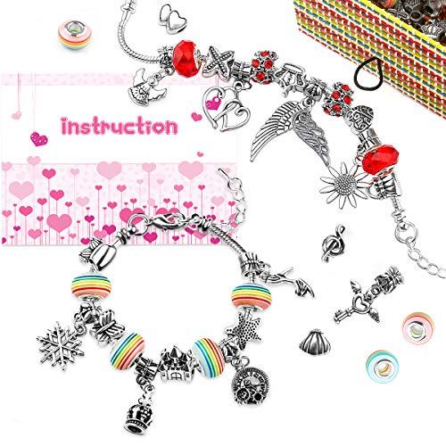 WinWonder - Charm Armband Kit, 16 Perlen 3 überzogen Silber Schlangenketten 35 Stck Zubehör Handwerk DIY Schmuck Geschenk Set mit 1 Box für Mädchen Teens