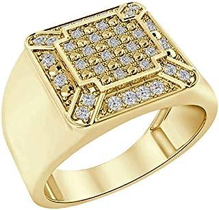 تريليون جيويلز 0.24 قيراط ألماس طبيعي 925 خاتم خطوبة للرجال بلمسة نهائية من الذهب الأصفر