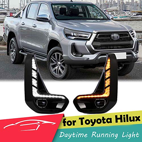 WPFC LED DRL Day Light for Toyota Hilux Revo 2020 2021 Daytime Running Light Fog Lamp Bezel with Dynamic Sequential Turn Signal