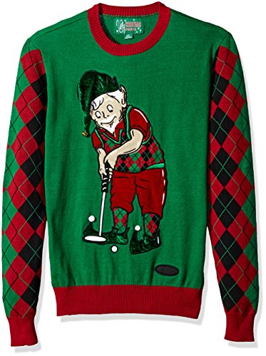 Ugly Christmas Sweater Company Men Ugly Christmas Sweater Golfing Santa