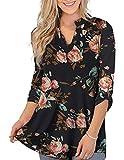 Damen Bluse Hemdbluse Langrm Top Langarmshirt Oberteile Tunika Damen Shirt Blumen & Karierte Hemd Elegant