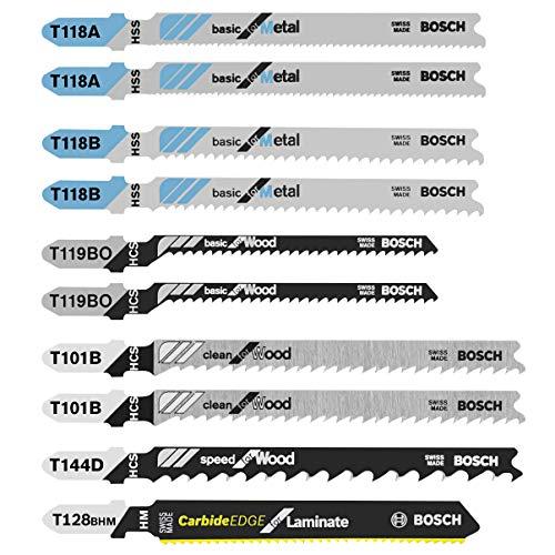 Bosch 10 pc. Laminate/Wood/Metal T-Shank Jig Saw Blade Set T10C