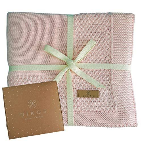 Babydecke Baumwolle aus * 100% * GOTS BIO Baumwolle rosa mit Bordüre für Mädchen Strickdecke Baby Decke Baumwolldecke Strick Wolle Kinderwagen Kuscheldecke Erstlingsdecke Wolldecke altrosa rose