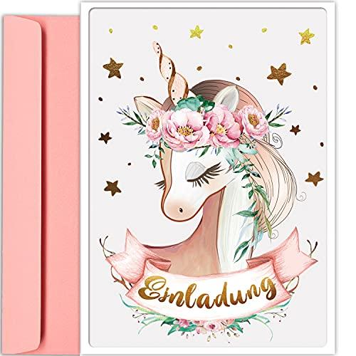 artpin® 10x Gold Einhorn EINLADUNGSKARTEN für Party und Kindergeburtstag mit rosa Umschlägen - Geburtstagseinladungen, EINLADUNG für Mädchen zum Geburtstag - Einschulung - Sterne vergoldet P68