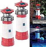 Lunartec Gartendeko: 2er-Set Solar-Deko-Leuchttürme mit LED-Licht & drehendem Reflektor (Leuchtturm Garten)
