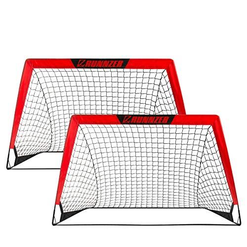 L RUNNZER Portable Soccer Goal  Pop Up Soccer Goal Net for Backyard Training Goals for Soccer  Set of 2 with Carry Case  4 x 3