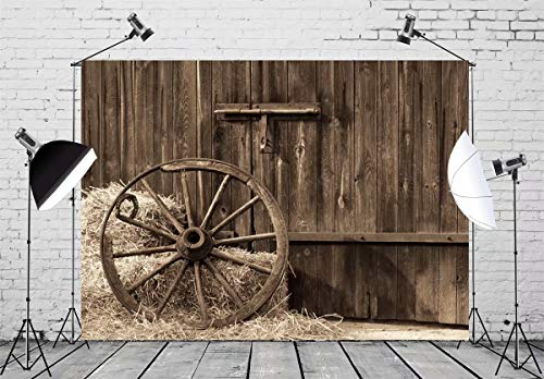 BELECO 7x5ft Cowboys Photo Backdrop Front of Old Barn with Antique Wheel Hay Bales Country Theme Phtography Backdrop for Party Kids Photoshoot Western Photo Props