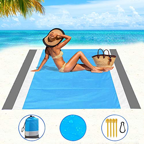 Beach Blanket, Beach Mat Outdoor Picnic Blanket Large Sandproof Compact for 4-7 Persons Waterproof And Quick Drying Beach Mat Mady by Premium Nylon...