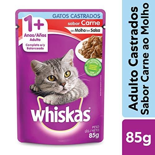 Ração Úmida Para Gatos Whiskas Sachê Carne ao Molho Adultos Castrados 85g