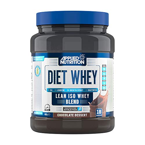 Applied Nutrition Diet Whey Protein Powder Supplement Low Carb High Protein, Weight Loss, with CLA Gold, L Carnitine, Green Tea, High Phd Standard 450g - 18 Servings (Chocolate Dessert)