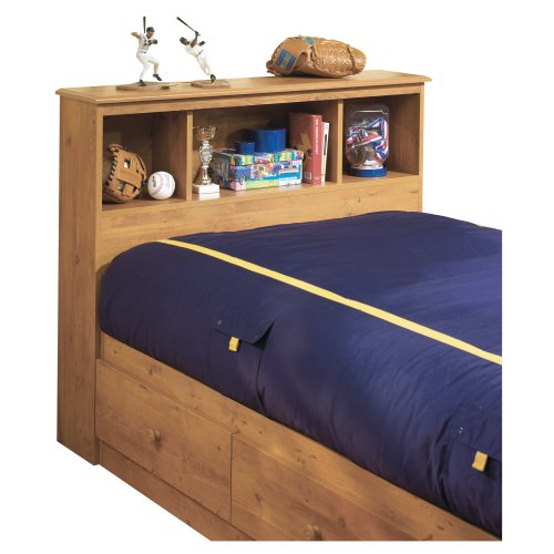 South Shore Little Treasures Bookcase Headboard with Storage, Twin 39', Country Pine