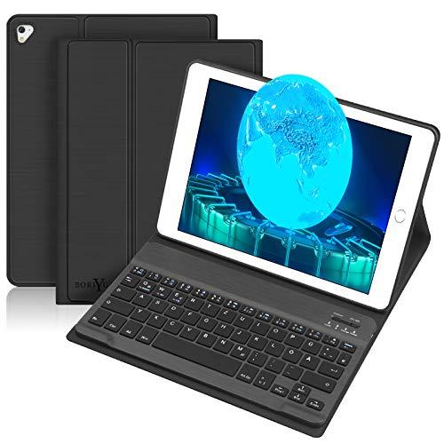 BORIYUAN Tastatur Hülle für iPad 2018 (6 Gen.)- iPad 2017 (5 Gen.) - iPad Air 2/1 - iPad Pro 9.7 - Automatischer Schlaf/Aufwachen Hülle mit Bluetooth Tastatur (German Layout), Schwarz