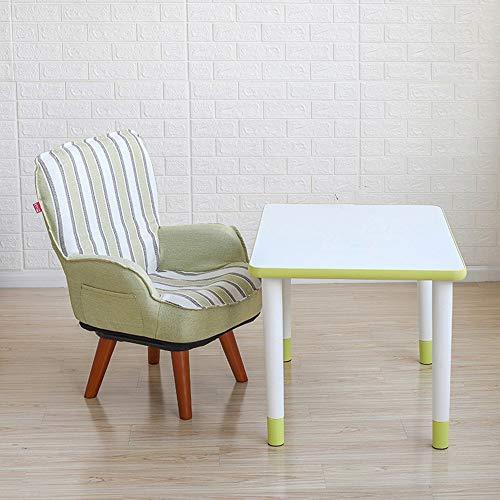 HAKN Canapé pour enfant, mini-canapé pour enfants peut être tourné, lavé, plié (Couleur : Yellow stripe+round coffee table)