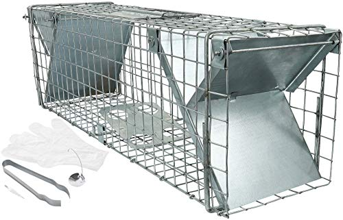 Große Rattenfalle Kaninchenfalle mit viel Zubehör 65 cm I Schneller, einfacher Fang I robust, wetterfeste Falle XXL I Lebendfallen mit 2 Eingängen I Hasenfalle I für Ratten Kaninchen Hasen I Lebend