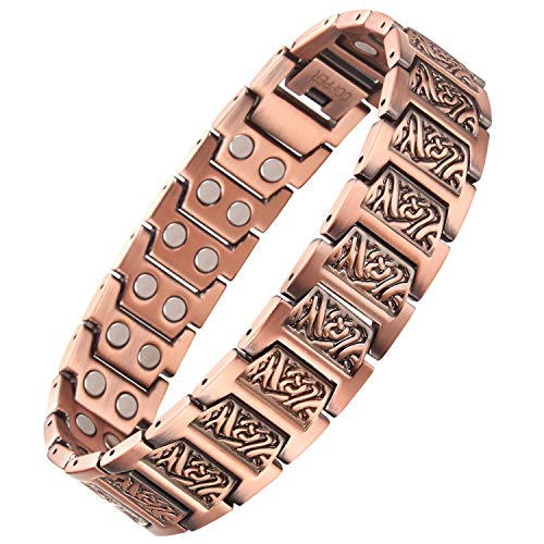 VITEROU Mens Magnetic Double Row Solid Pure Copper Therapy Bracelet with Strong Healing Magnets for Arthritis Pain Relief,3500 Gauss,8.5 Inches