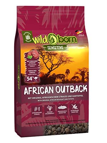 Wildborn Getreidefreies Hundefutter mit Straußenfleisch African Outback 15 kg | Gesundes Trocken-Futter mit hohem Fleisch-Anteil auch bei Allergie mit Kartoffeln ohne Mais und Weizen | Tier-Futter