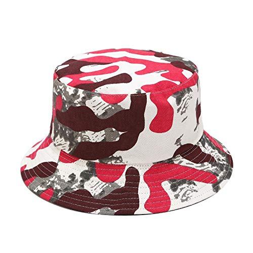 Bucket Hat Chapeau Hommes Casquette De Camouflage Tactique Militaire Seau Chapeaux Casual Unisexe Chasse Randonnée Snapback Chapeau Jungle Casquette De Combat en Plein Air Onesize Rouge