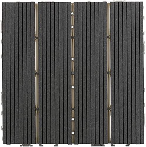 Baldosas de madera Terraza Baldosas 10 piezas de baldosas de madera y plástico, baldosas entrelazadas impermeables para patio, porche, patio trasero, patrón recto de 4 listones GCSQF210716(Color:3)