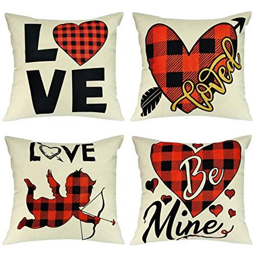 Wareon Valentines Day Decoration Pillow Covers 18x18 Inch Set of 4 Home Decor Clearance Romantic Farmhouse Buffalo Plaid Pillow Covers for Bedroom Living Room Indoor Outdoor Decor Valentines Decor