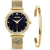 ManChDa Damen Armbanduhr Marmor-Zifferblatt Uhr mit Kristall Mesh Edelstahl Gürtel Damen Quarz Diamant Klassische Mode Romantisch + Schmuck Manschette Armband Set(Gold)
