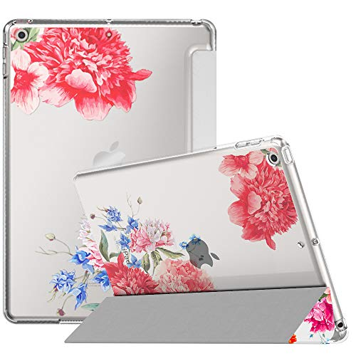 MoKo Case Fit New iPad 7th Generation/iPad 10.2 2019 Case with Stand, Soft TPU Translucent Frosted Back Cover Slim Smart Shell for iPad 10.2' 2019, Auto Wake/Sleep - Flowers Blossom
