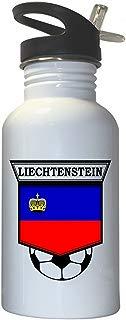 Liechtenstein Soccer White Stainless Steel Water Bottle Straw Top