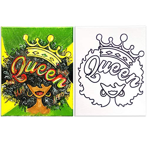 8x10 Canvas Painting | Pre Drawn Stretched Cotton Canvas | Afro Queen 2 | Birthday Gift | Black Lives Matter Adult Sip and Paint Party Favor | DIY