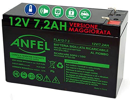 ANFEL Batteria al Piombo Ricaricabile 12V 7AH 7,2AH 20hr per allarmi antifurti ups lampade di Emergenza Giocattoli peg perego 7,2Ah 7,5Ah