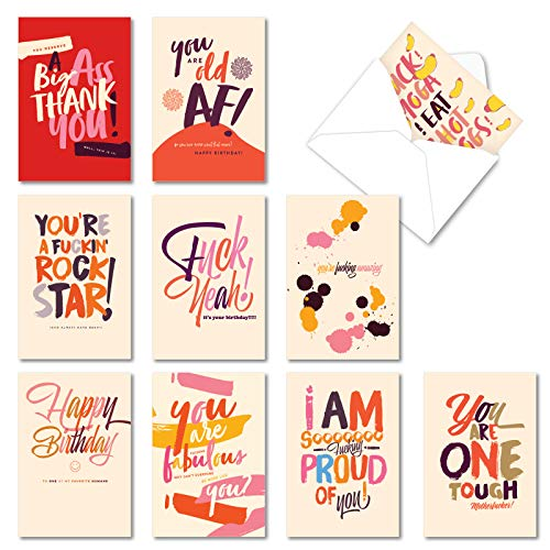NobleWorks - 10 Mixed Occasion Greeting Cards Bundle - Assorted Boxed Notecard Set - Offensive + Delightful Notes AC6333XXG-B1x10
