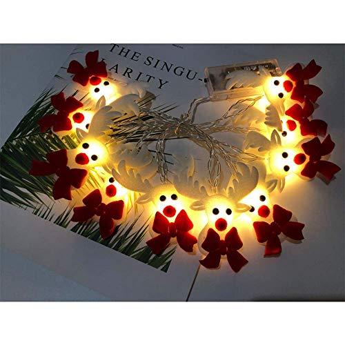 Wondsea - Guirnalda de luces de Navidad de 3 m de 20 luces led con diseño de reno, 2 modos de iluminación, decoración navideña para hogar, jardín, dormitorio, decoración para interior y exterior