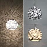Wankd Creativo Metallo Lampadario Base in Alluminio Emisfero Rotondo Sfera Ombra Single Ciondolo Luce Interno Ristorante Droplight Lampada da Soffitto [Classe di efficienza energetica A]