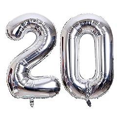 Idea Regalo - SMARCY Palloncini Gonfiabile Numero 20 Palloncini Compleanno 20 Anni Decorazioni Compleanno Argento