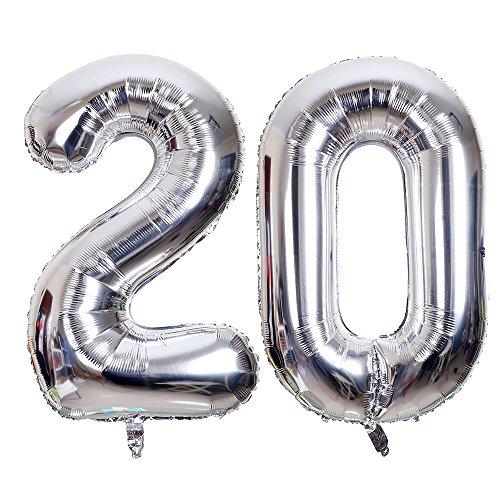SMARCY Ballon pour Le 20ème Anniversaire Décoration de 20 Ans Grands Chiffres 2 et 0 (Argenté)