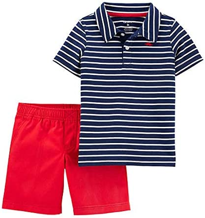 Carter's Baby Boys' 2 Pc Playwear Sets 249g396 (Navy Blue Stripe/Red, 24 Months)