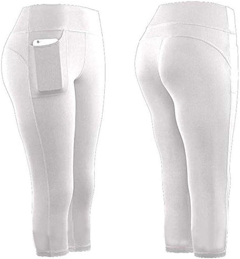 High Waist Yoga Pants, Pocket Yoga Pants Tummy Control Workout Running 4 Way Stretch Yoga Leggings White